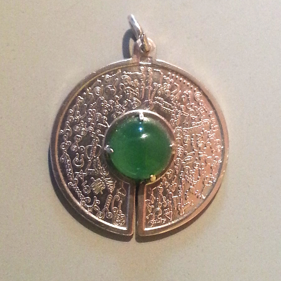 Pendentif BioSignatures  incrustées argent agate verte